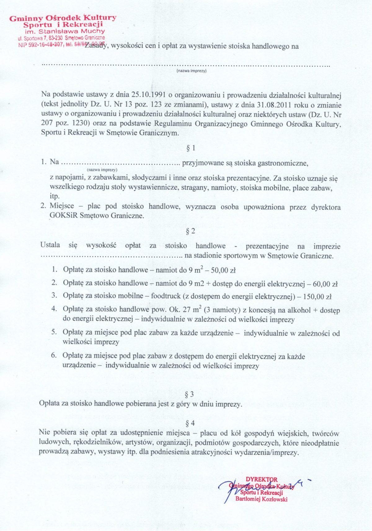 """Skan dokumentu """"Zasady, wysokość cen i opłat za wystawienie stanowiska handlowego"""". Wersja tekstowa do pobrania na dole strony."""