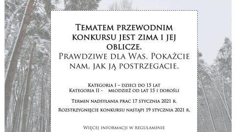 plakat przedstawiający zdjęcie lasu w scenerii zimowej