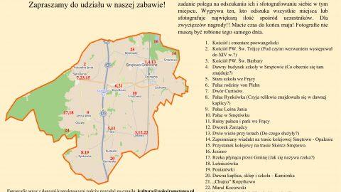plakatprzedstawiający mapę Gminy Smętowo z oznaczonymi punktami, które należy odnaleźć
